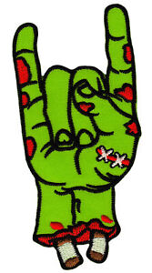 Bc91 Zombie Rock N Roll Hand Green Embroidered Sew-On Iron-On Patch 2x4 1/8in