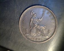 1863  Great Britain, One Penny, Very High Grade Circulated Bronze (UK-318)