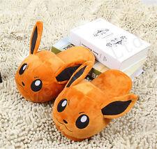 Pocket Monster Pokémon Eevee Short Plush Warm Cotton Slip Slippers Gift