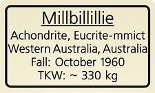 Meteorite label Millbillillie