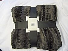 Faux Fur Bedspread Blanket Full Queen Chocolate Brown Plush 86 x 86 Large