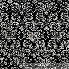 BonEful Fabric Cotton Quilt B&W Black White Damask Flower Dot Swirl L Sale SCRAP