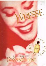 """Publicité Advertising 1997 Eau de Toilette """"Yvresse"""" par Yves Saint Laurent"""