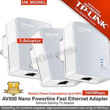 TP-LINK AV500 nano Powerline Fast Ethernet AV Network Gaming TV Adapter X 3