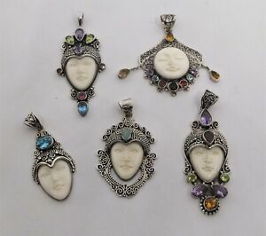 Sterling silver Face Pendant multi gemstone carved Moon / Goddess face - various