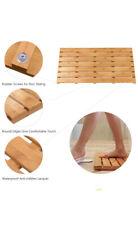 Quality Wooden Bamboo Bath Shower Non Slip Waterproof Large Bathroom Floor Mat