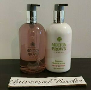 Molton Brown Delicious Rhubarb & Rose Hand Wash 300ml + Hand Lotion 300ml Duo