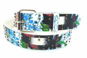 Men Women Unisex Assorted Fashion Graphic Printed Designs Genuine Leather Belts