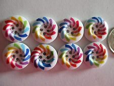 8 x 15mm Painted Wooden Buttons - Rainbow Colours -   4 Holes - No.921