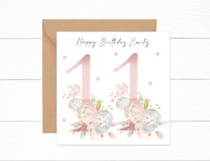 Personalised Birthday Card 11th Birthday Girls Floral Daughter Granddaughter