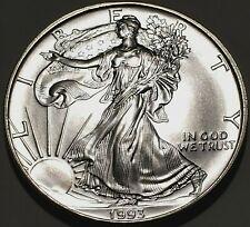 US MINT 1993 AMERICAN SILVER EAGLE DOLLAR BU .999 FINE OZ SILVER - SUPERB COIN!