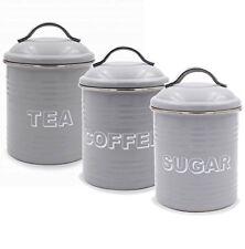 SET 3 GREY TEA COFFEE SUGAR CANISTERS STORAGE CADDIES JARS  ENAMEL BY LEONARDO