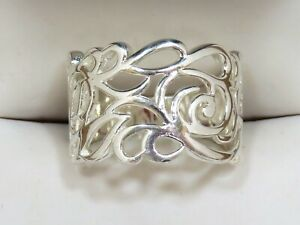 Lovely Abstract Filigree Sterling Silver 925 Ring Sz 8.125 (5.62g)