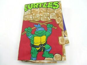 Vintage Teenage Mutant Ninja Turtles Twin Sheet Flat 1988 Craft Material Cloth