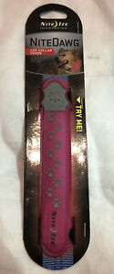 Nite Ize Nite Dawg LED Collar Cover Pink w/Red Safety Light Glow & Flash Mode