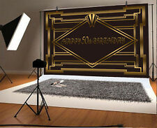 7x5ft Background Photo Backdrop Studio Props Happy 50th Birthday Black Gold Show