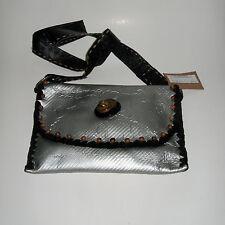Burt Watson Originals Beaded Silver Leather Handbag Purse Faux Bakelite