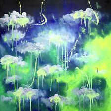 Abstraktes Gemälde auf Leinwand 1m x 1m Blau Grün Weiß Schwarz