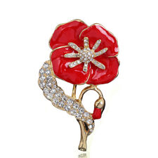 Ladies Vintage Enamel Poppy Badges Brooch Flower Crystal Pin Badge Brooches 2018