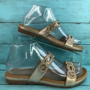 Patrizia by Spring Step Gold Beaded Slide Sandal Faux Leather Slip On Womens 6M