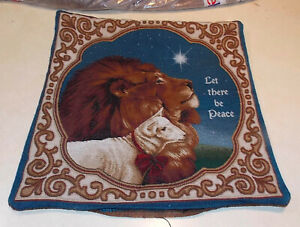 Lion & Lamb Print Decorative Print Pillow  18 x 18