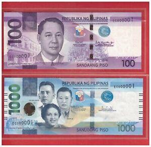 2018 2020 PHILIPPINES 100 1000 Peso NGC IDENTICAL Low No.1 EC 000001 EC 000001