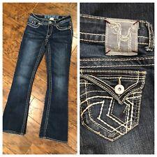 "Junior's 5/6 Hydraulic Lola Boot Cut 32"" Length Dark Wash Jeans Thick Stitch"