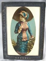 SMALL ANTIQUE FRAMED PRINT PRETTY VICTORIAN WOMAN WITH PARASOL -- 4.5 X 6.5 IN.