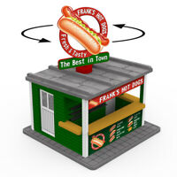 O Gauge Hot Dog stand w/Motorized Rotating Banner and Lighting