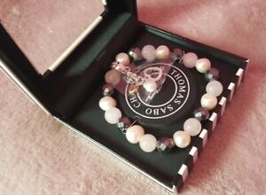 THOMAS SABO Charm Club Bracelet Pink White Grey With Lovely Heart Charm Pendant