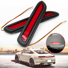 2x Universal Car LED Rear Bumper Reflectors Red Lens Taillight Brake Fog Light