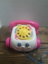 Fisher Price Pink Googly Eyes Chattering Pull Phone Telephone Toy Ages 1+