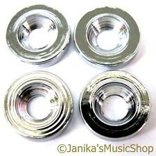 4 CHROME ELECTRIC GUITAR NECK JOINT BUSHES BUSHINGS FERRULES NEW FROM JANIKA
