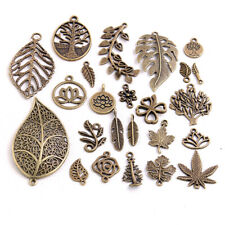 50X Vintage Mixed Flower Leaf Antique Charms Necklace Pendants Findings Jewelry