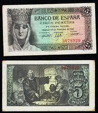 ESCASO BILLETE. 5 Pesetas año 1943 SIN SERIE. Isabel la Católica. Nº 3078920.