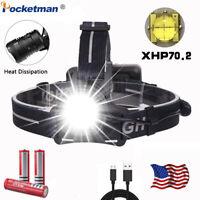 XHP70.2 80000LM LED Headlamp Rechargeable Headlight Head Torch Flashlight 3 mode