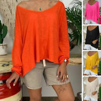 Plus Size Womens Oversized Baggy Loose T-Shirt Ladies Long Sleeve Tops Blouse US