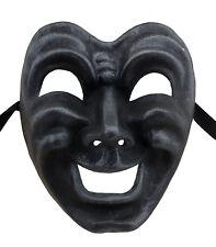 Masque de Venise Visage Volto Papier maché gris acier Tragedie rire 22676 GT2