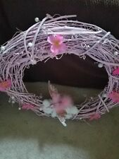 Beautiful handmade 24 in vine wreath ' ideal for breast cancer awareness month