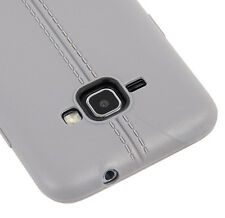 for Samsung Galaxy EXPRESS 3 - Hard TPU Leather Jacket Gray Rubber Cover Case