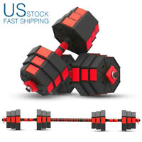 22/44/66 lb Pair Adjustable Dumbbell Set Combination Barbell Workout Weights USA