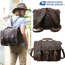 "Men's 17"" Laptop Backpack Briefcase Messenger Shoulder Bag Leather Vintage"