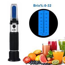 0-32% Brix Refractometer Fruit Beverages Food Sugar Content Tester Tool ATC