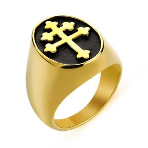 Magnum PI Cross Of Lorraine Ring Stainless Steel Knights Templar Crusader