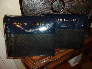 NIP Ralph Lauren Wyatt Onyx Black Quilted King Pillow Sham Pair
