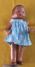 """1930-Doll Cotton Print dress 9.5"""" movable arms molded bobbed hair-Imperfections"""