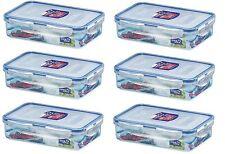 6 X LOCK & LOCK RECTANGULAR PLASTIC FOOD STORAGE CONTAINER 800ML HPL816
