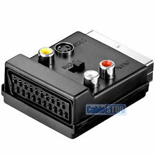 SWITCHABLE SCART MALE TO FEMALE & 3 x RCA PHONO & 4 Pin Mini Din SVHS TV ADAPTER