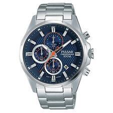 Reloj Analógico pulsar para hombre 43MM De Acero Inoxidable Pulsera De Acero Y Estuche Cuarzo Esfera Azul PM3059