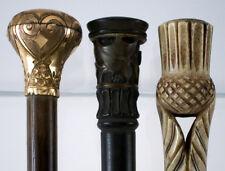 3 Antique Parasol Handles Rolled Gold Horn Bone Thistle